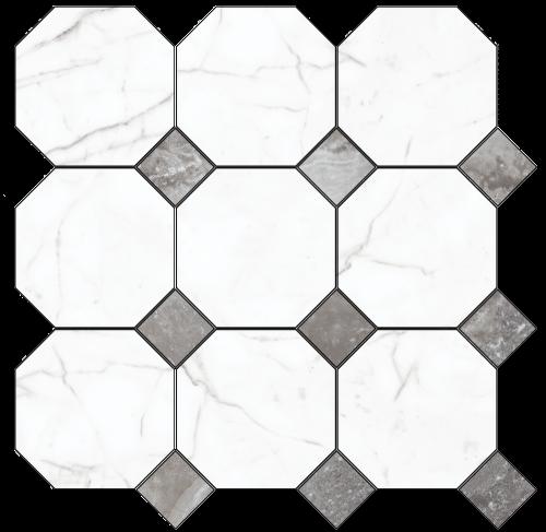 Декор напольный Kerranova Black&White Decor Cut White/Белый K-60/LR/d02 Lappato 60x60