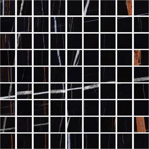 Мозаика керамическая Kerranova Nero Dorato Black/Черный K-1004/CR/m01 Full Body Sugar 30x30