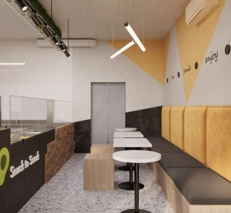 Проект кафе с коллекцией Kerranova Terrazzo