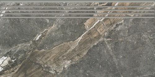 Ступень керамическая Kerranova Genesis Dark Grey/Темно-серый K-108/SR/ST01 Structure 29,4x60