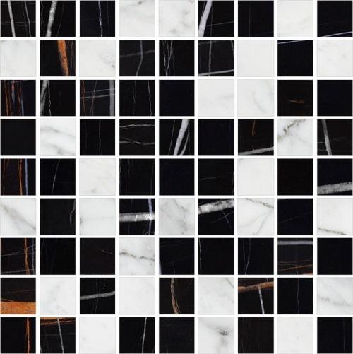 Мозаика керамическая Kerranova Nero Dorato Black/Carrara White K-1004(1000)/СR/LR/m22 30x30